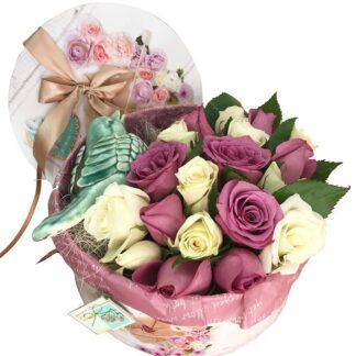 Букет Нежный, Цветы, Цветы в коробке, Птица, Доставка цветов по Москве, Букет на 8 марта, корпоративные подарки