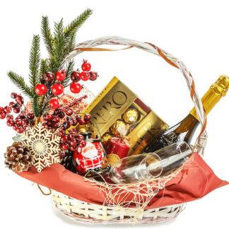 Новогодняя подарочная корзина купить в Москве с доставкой, Подарок на Новый год, Новогодний подарочный набор, Корпоративные подарки на Новый год купить дешево в Москве, Корзина на Новый год заказать с доставкой по Москве, Преферито, Корзина, Новый год, Подарки Москва, Новогодние подарки купить в Москве