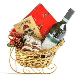 Новогодний подарок с доставкой по Москве, Новогодние сани в подарок, Подарок на Новый год