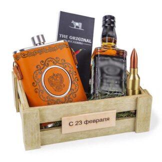 Подарочный набор для мужчины с флягой в кожаном чехле, мужской по дарок на 23 февраля, подарки для мужчин купить в Москве