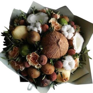 букет из фруктов и цветов, фудбукет, фруктовый букет, букет с кокосом