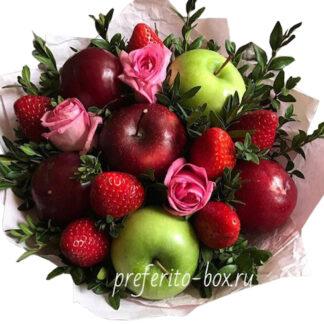 фруктовый букет из яблок и роз, фудбукет из фруктов, детский букет из фруктов