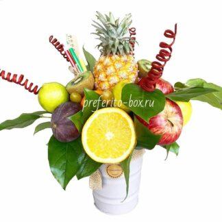 фруктовый букет, букет на день учителя, букет из фруктов, фудбукеты, букет на 8 марта, доставка фруктов, преферито, мини ананас, букет на 1 сентября, доставка букетов москва, подарки москва, марьино подарки