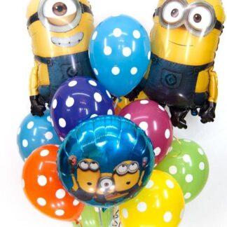 доставка воздушных шаров по москве, миньоны, шарики на день рождение, связка воздушных шаров, шарики в горох, шары на дом, купить шарики в москве, купить шарики с миньонами, шарики с гелием, фонтан из шаров, цветные шары