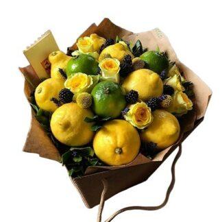 фруктовый букет, букет из фруктов и роз, доставка цветов, цветы и фрукты москва, букет на 8 марта, букет в больницу, букет из лимонов, фруктовый букет, жёлтый, подарки москва, цветы москва, преферито, preferito, корпоративные букеты, корпоративные подарки