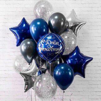 """Связка шаров с гелием """"Великий Гетсби"""", Доставка воздушных шаров по Москве, Шарики для мужчины, Шары на праздник, Шарики с гелием, Синие шарики, Серебрянная звезда, Шарик с днем рождения"""