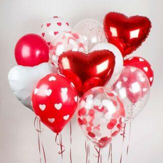 Воздушные шары Сердца, Воздушные шары на День Святого Валентина, Шарики на 14 февраля, Доставка шаров по Москве, Шарики с сердечками