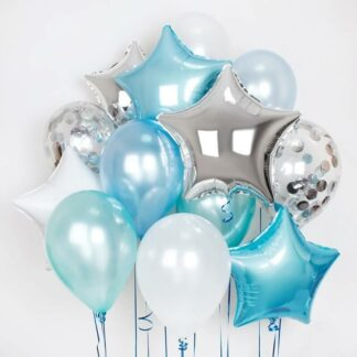 Воздушные шары, связка из шаров голубого цвета, доставка шаров по Москве, воздушные шары на праздник