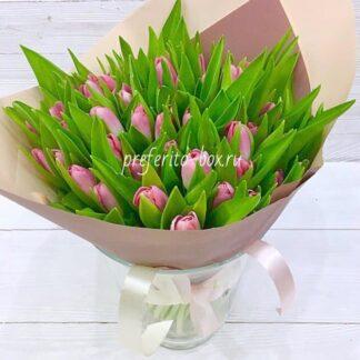 Букет из тюльпанов, 8 марта, цветы, Доставка цветов по Москве, Цветы Москва