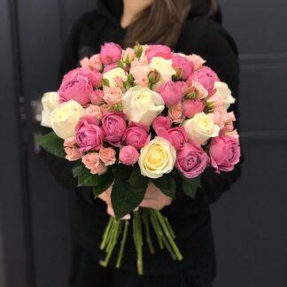 """Букет из роз """"Lovely"""", Букет из пионовидных кустовых роз, Доставка букетов по Москве, Розы Москва доставка, цветы, Розы онлайн круглосуточно"""