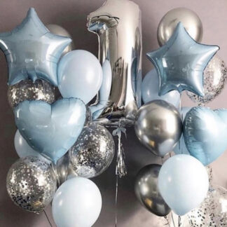 """Связка Из Шаров """" Малыш"""", Воздушные шары с гелием доставка по Москве, Москва шарики с гелием, Шарики на годик ребёнку, Воздушные шары серебро, Шарики с конфетти"""