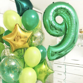 """Связка Из Шаров """"Зелёный Луг"""", Воздушные шары с гелием зелёного цвета, Фольга шар цифра 7, Доставка шаров по Москве, Шарики с гелием, Шарики на день рождения для мальчика, Воздушные шары для мальчика"""