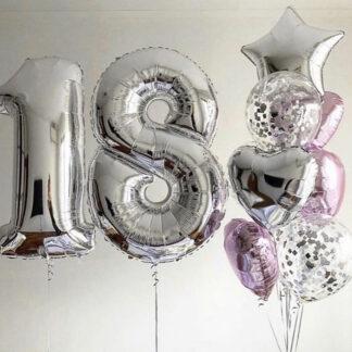 """Связка Из Шаров """"18"""", Шар цифра 18, Воздушные шары на день рождения, Доставка воздушных шаров по москве, шарики на 18-ти летие"""