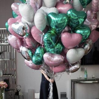 """Связка Из Шаров """"Сердца"""", Фольгированные шары в форме сердца, Шарики с гелием Сердца, Шарики на День Валентина, Шарик Сердце, Связка шаров Сердец"""