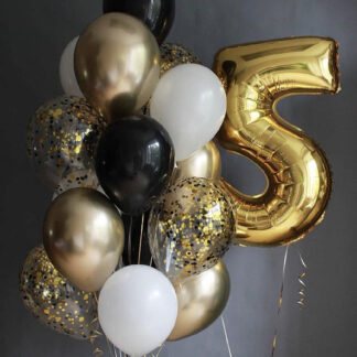 """Связка Из Шаров """"Boy'S"""", Воздушные шарики с гелием, Шарики на день рождения, Хромированные воздушные шары, Шары с гелием золотого цвета, Золотые воздушные шары с гелием, Доставка воздушных шаров по Москве, Купить шары в Москве, Шарики Москва Доставка"""