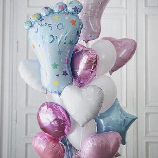 Связка Из Шаров На Выписку Для Мальчика и для девочки, Воздушные шары на выписку из роддома, Воздушные шары с гелием, Воздушные шары на рождение ребёнка, Шарики с гелием доставка по Москве