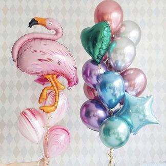 """Связка Из Шаров """"Розовый Фламинго"""", Связка из шаров на день рождения, Хромированные шарики с гелием доставка, Фигура шар Фламинго, Доставка воздушных шаров по Москве, Купить розовый фламинго, Шарик фольга фламинго, ассорти из воздушных шаров купить в Москве"""
