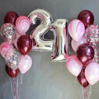 """Связка Из Шаров """"21"""", Шарик цифра 21, шарики с гелием на день рождения 21 год, цифра 21 фольга шар, купить шары на день рождения, оформление праздника воздушными шарами, Доставка воздушных шаров по Москве, купить шары с гелием, шарики с гелием ЮВАО купить"""