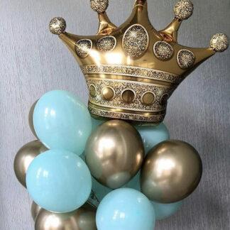 """Связка Из Шаров """"Корона"""", Шар фигура Корона, Хромированные золотые воздушные шары с гелием, связка из шаров с гелием, Шарики с короной, бирюзовые воздушные шары, шарики на день рождения, шарик Корона купить, Доставка воздушных шаров по Москве, Купить шарики в марьино, Доставка шаров круглосуточно."""