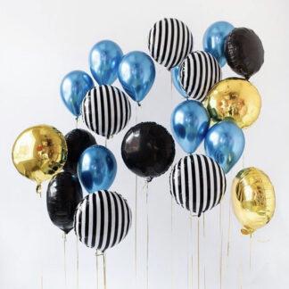 """Связка Шаров """"Зебра"""", Воздушные шарики с гелием, Доставка воздушных шаров по Москве, Хромированные шары, Шарики с гелием, Связка шаров"""