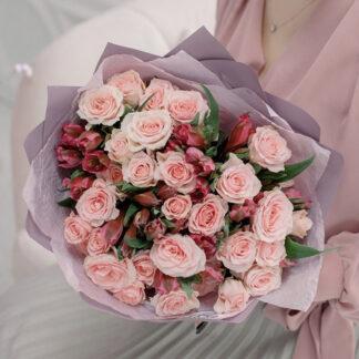 Букет из роз и альстромерии, Букет для учителя, Букет для девушки, Цветы с доставкой по Москве, Азалия цветы, Преферито, Preferito, купить цветы дешево