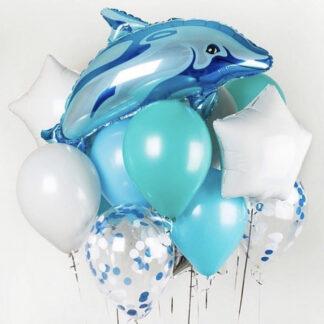 Связка из шаров с дельфином, Шар фигура из фольги Дельфин, Доставка воздушных шаров по Москве, купить шарики с гелием