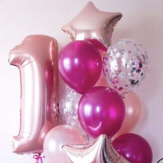 Связка из шаров с цифрой 1 на первый день рождения для девочки, шарики для девочки на годик ребёнку купить в Москве, Шарики недорого на Годик ребенку, Шар Фигура Фольга Цифра 1, Преферито