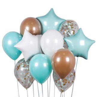 Связка из шаров с гелием нежно-бирюзового цвета со звёздами, доставка шаров по Москве недорого, Шарики дёшево, Воздушные шары на праздник, Купить шары в Москве, Преферито
