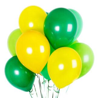 Связка из шаров с гелием жёлтого зелёного цвета, шарики с гелием купить дешево, Фото шаров зелёного цвета, купить с доставкой по Москве шары на праздник, шарики для мальчика,шары, преферито