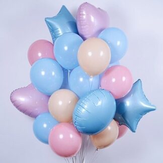Фонтан из шаров с гелием на день рождение для ребёнка, Купить воздушные шары недорого, Шары, Голубые шары с гелием, Преферито, Шары на выписку из Роддома