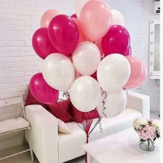 Связка из шаров с гелием розового цвета для девочки, шарики для праздника с доставкой по Москве, Купить недорого шары в Москве, Преферито