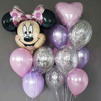 Связка из шаров с Минни Маус, шарики с гелием на день рождения, шар-фигура фольга Минни Маус, купить шары с доставкой по Москве, preferito