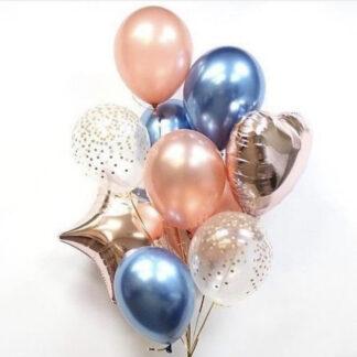 """Связка из шаров """"Мишель"""" с гелием и доставкой по Москве, Купить недорого воздушные шары на день рождения, шарики на праздник, Украшение праздника воздушными шарами, Купить шары с гелием недорого, шарики для девушки, Преферито, Шарик с обработкой, Хром"""