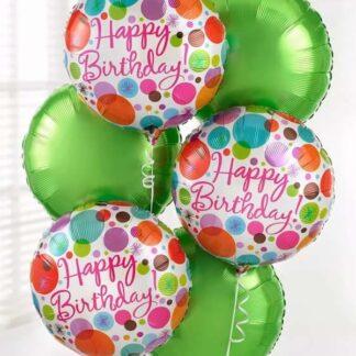 Связка из шаров на день рождения, Воздушные шары купитьв Москве с доставкой на праздник, шарики с гелием, Шар фольга Хэппи Бёздей