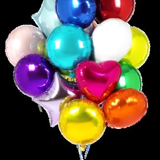 Связка из фольгированных шаров с гелием, ассорти из шаров кругов, шары с гелием с доставкой по Москве, Преферито, Шары, Воздушные цветные шары, шар фольга круг