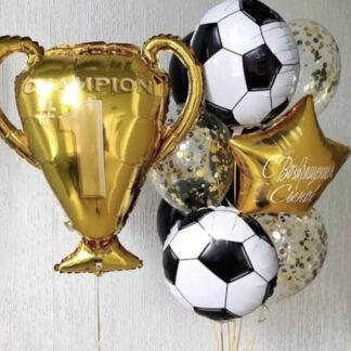 Шары для мужчины, Воздушные шары с гелием с футбольными мячами, Шар Фигура из фольги Кубок Чемпиона, Шар фигура из фольги Футбольный мяч, Шары для футболиста, шары для мальчика с доставкой по Москве
