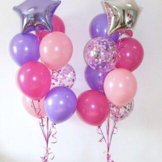 Фонтан из воздушных шаров с гелием, Связка из шариов для девочки на праздник, украшение праздника воздушными шарами, купить шары дешево для девочки в Москве с доставкой, Преферито, шары, гелий, розовые шары с обработкой, шары с конфетти
