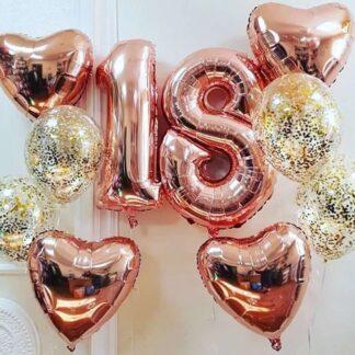 Связка из шаров на день рождения 18 лет, шарики с гелием с доставкой по Москве, Купить шары цифра 18, шар Фигура Фольга 18