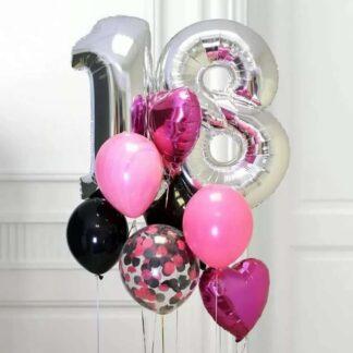 Связка из шаров с гелием на день рождения, шары с гелием купить в Москве с доставкой, Преферито, Шар фигура Цифра 18, Цифра шар из фольги 18, Шары с гелием недорого