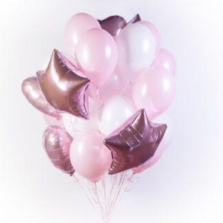 Связка из розовых шаров с гелием для девочки на праздник, Шарики с гелием для девочки, Купить шары недорого в Москве с доставкой, Фонтан из воздушных шаров розового цвета, Розовые шарики для девочки на выписку из Роддома