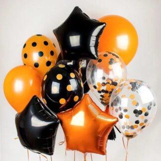Связка из шаров с гелием на Хэллоуин, Хэллоуин, Украшение праздника Хэллоуин, Воздушные шары на праздник с доставкой по Москве