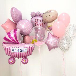 Связка шариков из гелия на выписку ребёнка из Роддома, Шарики на рождение девочки, Купить шары на выписку из Роддома в Москве с доставкой на дом, Шарики на рождение девочки купить недорого, Преферито