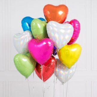 Связка из шаров сердец из фольги разных цветов отличный подарок на день святого Валентина, Воздушные шары на 14 февраля, заказать шары на праздник с доставкой по Москве, шары на день влюблённых, Шар фигура Сердце из фольги 45 см., Преферито шары, Шары с гелием