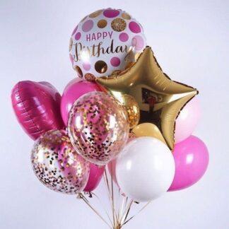 Связка из шаров с гелием для девочки на день рождения, купить шарики дешево в Москве, Шарики с гелием на день рождение для девочки, Воздушные шары с доставкой по Москве, Преферито