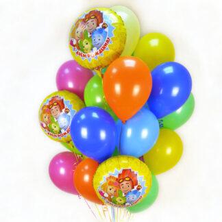 Связка из шаров с Фиксиками, Фиксики, Воздушные шары с гелием на день рождения, шарики с фиксиками с доставкой по Москве, Доставка шаров по Москве недорого, Купить шары, украшение детского праздника воздушными шарами, Преферито