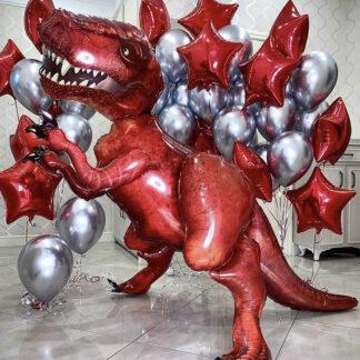 Красный ходячий шар Динозавр, Воздушные шары хромированные, Шары с гелием