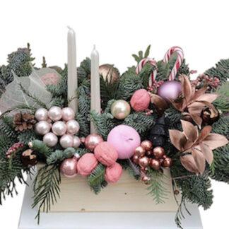 Новогодняя композиция из нобилиса, купить букет из ели на Новый год, заказать украшение на новый год