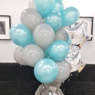 Воздушные шары с гелием, шарики с мишкой, шары с мягкой игрушкой купить с доставкой по Москве, доставка воздушных шаров, бирюзовые шары, игрушка Тэдди, Мишка Тэдди с воздушными шарами, доставка шаров на дом Москва