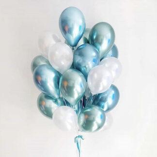 Связка из шаров с гелием бирюзового цвета, хромированные шары бирюзового цвета купить, доставка шаров по Москве, Шарики на дом купить москва