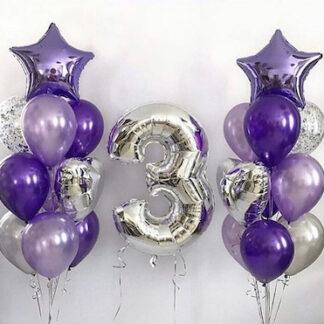 Фонтаны из воздушных шаров фиолетового цвета с цифрой 3, шар фигура цифра из фольги 3; фиолетовые шарики с гелием с доставкой по Москве, шары москва купить, заказать шарики с доставкой на дом, воздушные шары с гелием на праздник